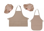 Mother Daughter Bib Aprons and Chef Hats Set -- Khaki