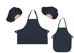 Mother Daughter Bib Aprons and Chef Hats Set -- Navy