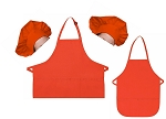 Mother Daughter Bib Aprons and Chef Hats Set -- Orange