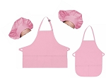 Mother Daughter Bib Aprons and Chef Hats Set -- Pink