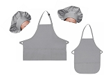 Mother Daughter Bib Aprons and Chef Hats Set -- Silver Gray