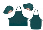 Mother Daughter Bib Aprons and Chef Hats Set -- Teal