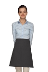 Style 111 Professional One Pocket Half Bistro Apron - Charcoal Gray