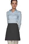 Style 180XL Professional Extra Large Three Pocket Rounded Waist Apron - Charcoal Gray