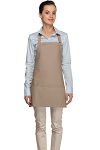 Style 200 High Quality Professional Three Pocket Bib Aprons - Khaki