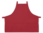 Style 200XX High Quality Professional Three Pocket Criss Cross Bib Aprons - Red