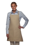 Style 212 Professional Bib w/ Center Divided Pocket Apron - Khaki