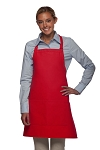 Style 212 Professional Bib w/ Center Divided Pocket Apron - Red