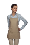Style 215 EXTRA SMALL Professional Promo Two Pocket Bib Apron - Khaki