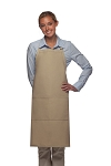 Style 220 High Quality Professional Center-Divided Pocket Butcher Apron - Khaki