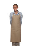 Style 220NP High Quality Professional Large No Pocket Bib Aprons - Khaki