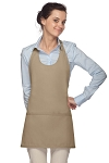 Style 305 High Quality Professional Scoop Neck Tuxedo Apron - Khaki