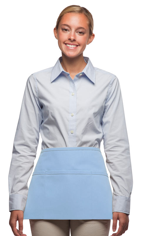Style 100 Professional Three Pocket Waist Apron - Light Blue