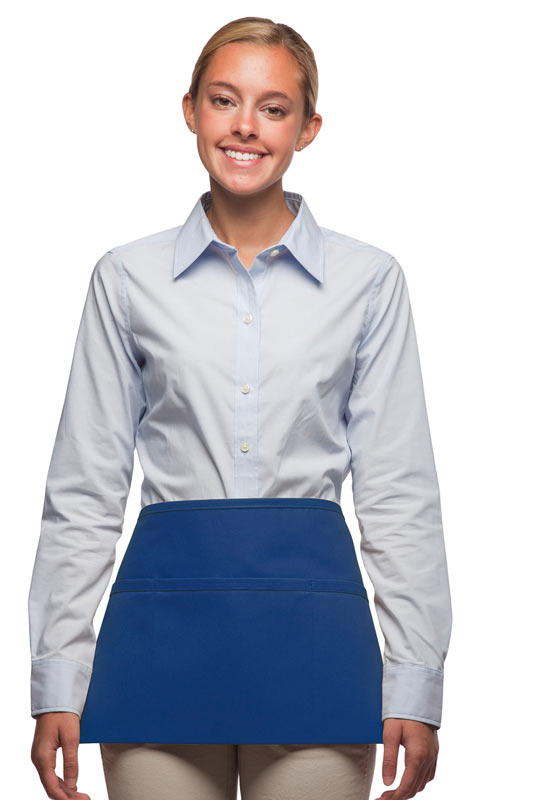 Style 100R Professional Three Pocket Reversible Waist Aprons - Royal Blue