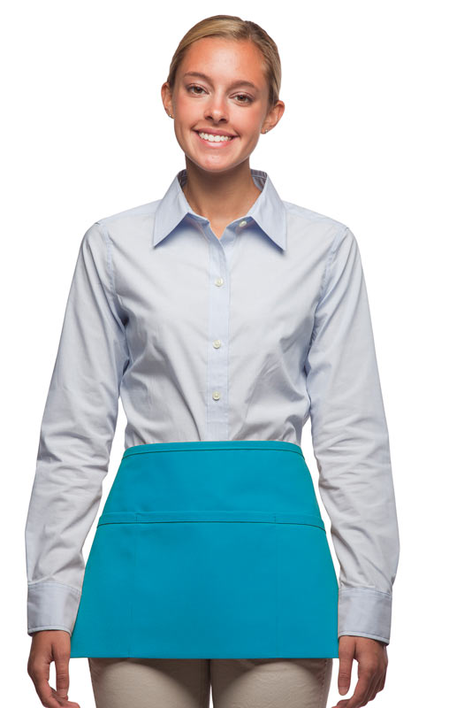 Style 100R Professional Three Pocket Reversible Waist Aprons - Turquoise