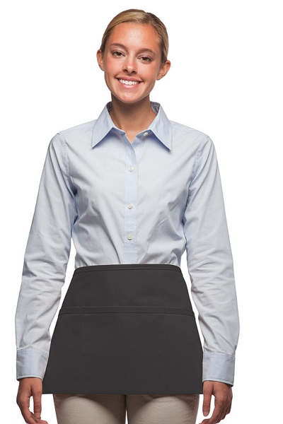 Style 100XW Extra Wide Professional Three Pocket Waist Aprons - Charcoal Gray