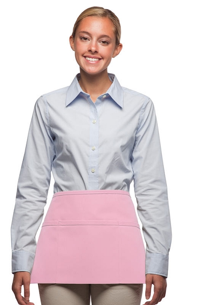 Style 100R Professional Three Pocket Reversible Waist Aprons - Pink