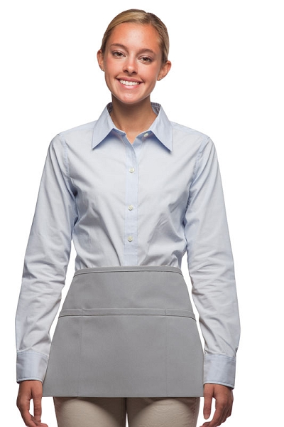 Style 100XW Extra Wide Professional Three Pocket Waist Aprons - Silver Gray
