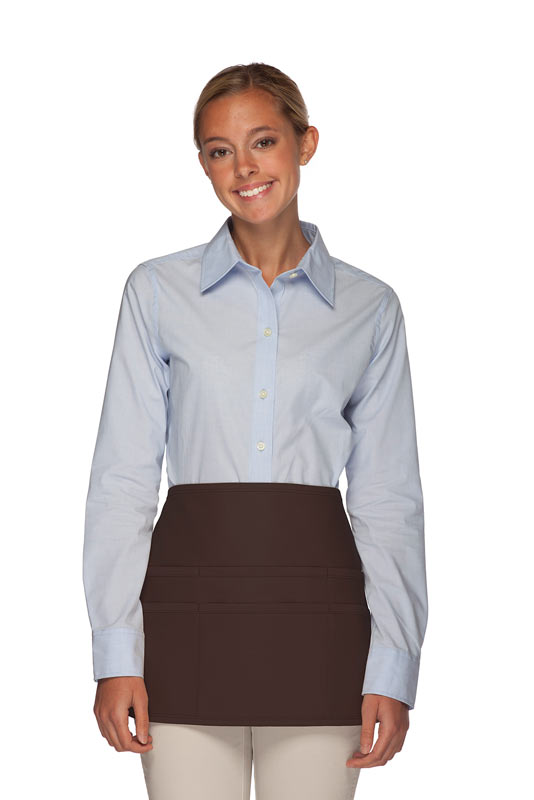 Style 106 Professional SIX Pocket Waist Aprons - 6 Pockets! - Brown