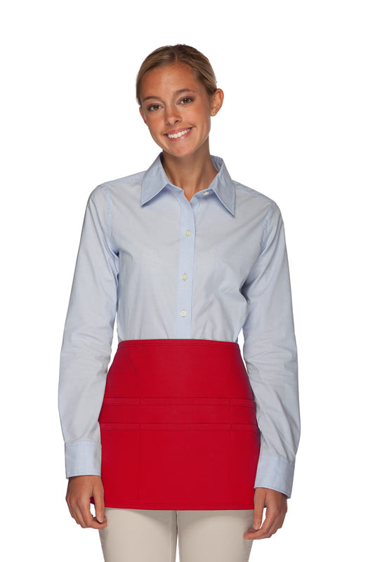 Style 106 Professional SIX Pocket Waist Aprons - 6 Pockets! - Red