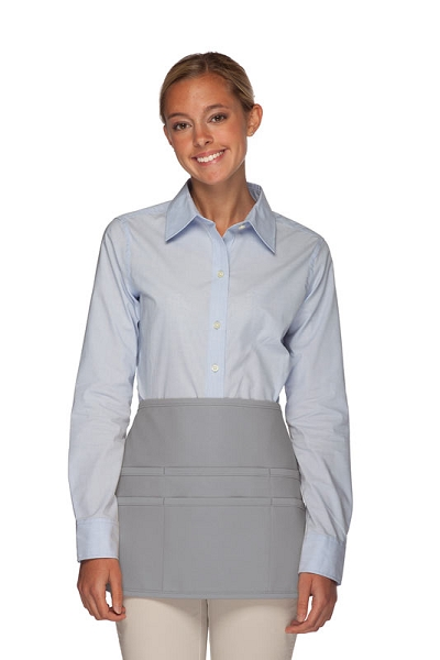 Style 106 Professional SIX Pocket Waist Aprons - 6 Pockets! - Silver Gray
