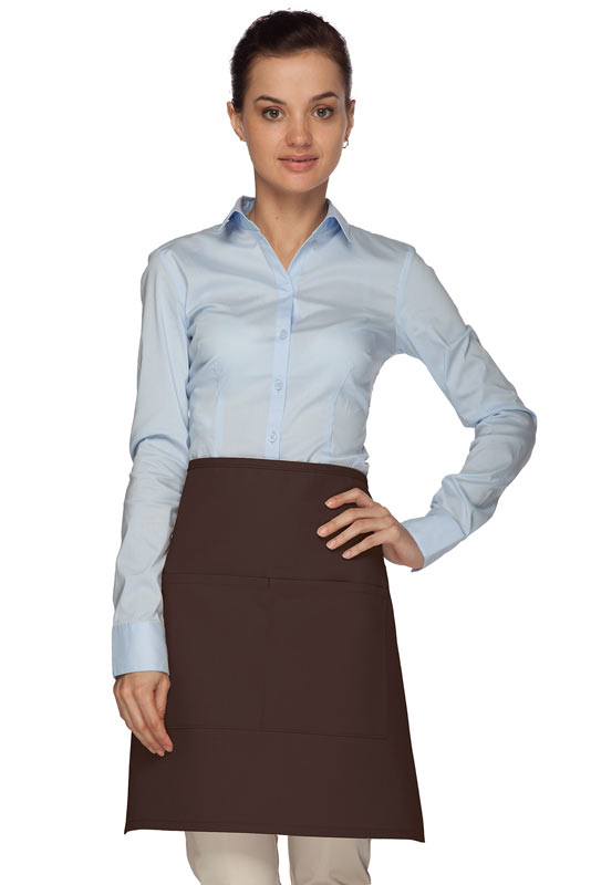 Style 110 Professional Half Bistro Apron with Center-Divided Pocket - Brown