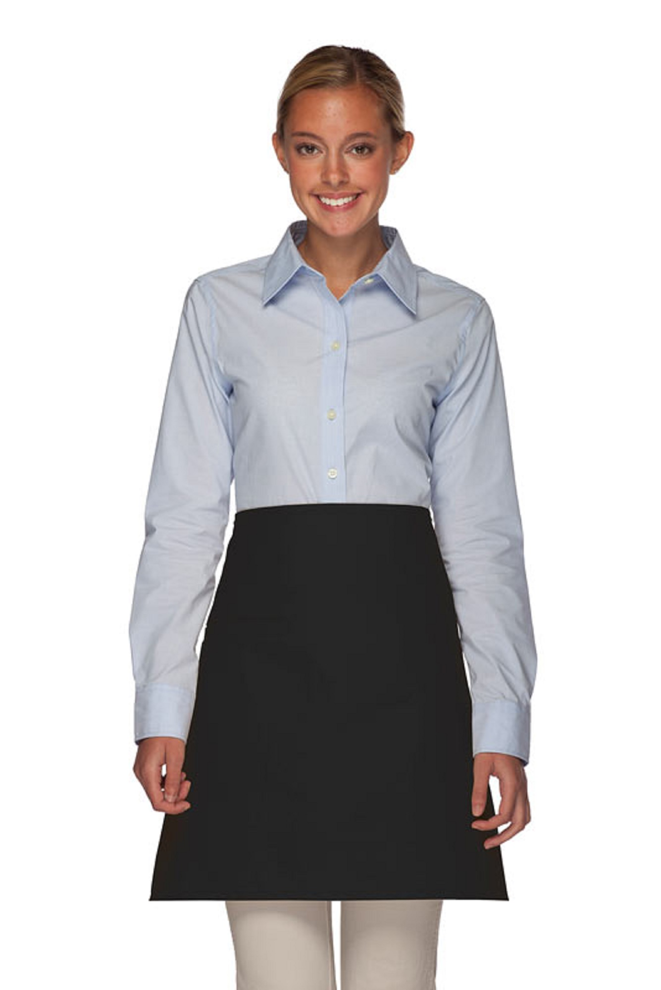Style 110I Professional Half Bistro Apron with Inset Pocket - Black