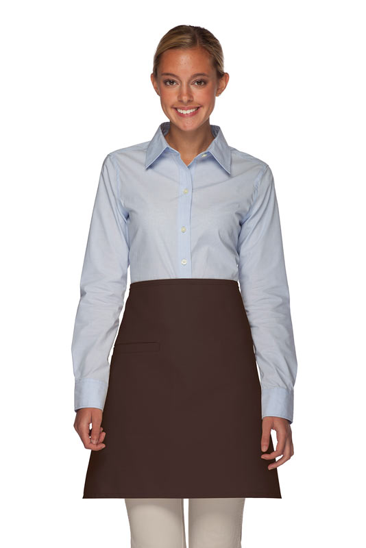 Style 110I Professional Half Bistro Apron with Inset Pocket - Brown