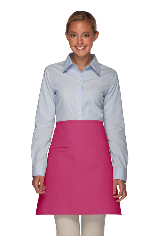 Style 110I Professional Half Bistro Apron with Inset Pocket - Hot Pink