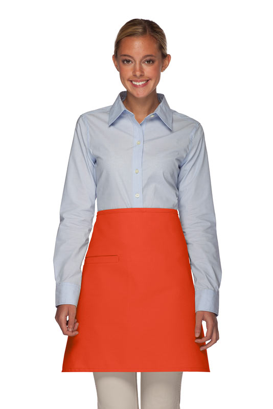 Style 110I Professional Half Bistro Apron with Inset Pocket - Orange