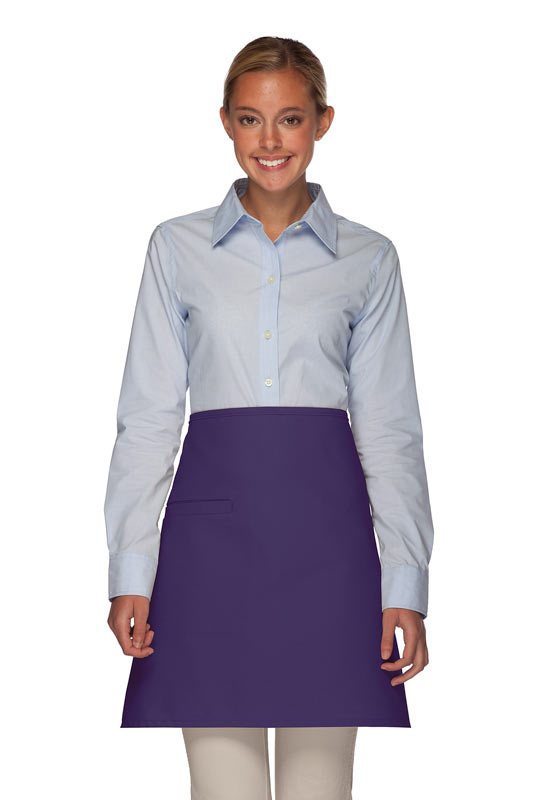 Style 110I Professional Half Bistro Apron with Inset Pocket - Purple