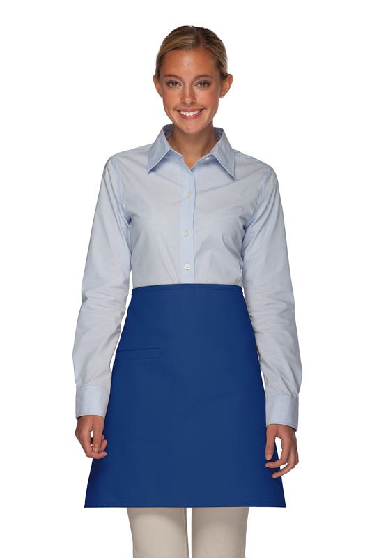 Style 110I Professional Half Bistro Apron with Inset Pocket - Royal Blue