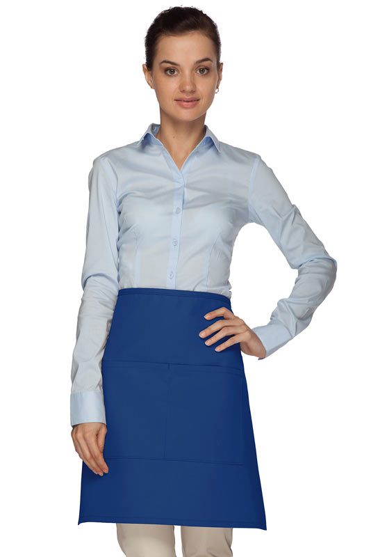 Style 110 Professional Half Bistro Apron with Center-Divided Pocket - Royal Blue