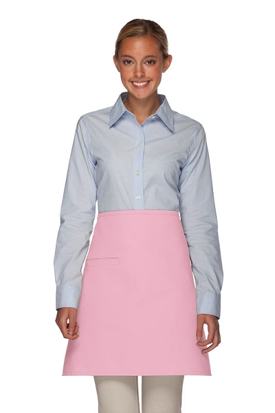 Style 110I Professional Half Bistro Apron with Inset Pocket - Pink