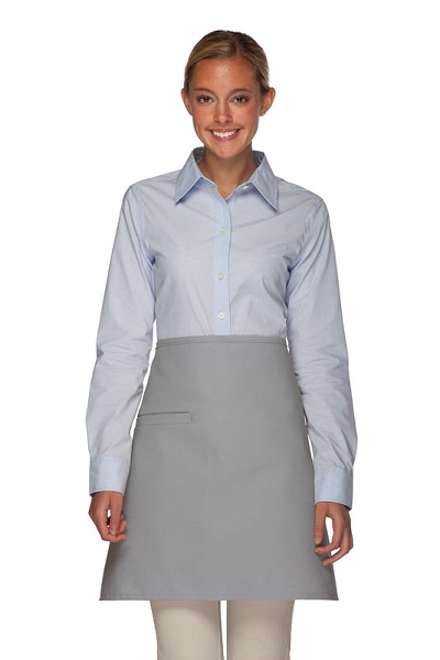 Style 110I Professional Half Bistro Apron with Inset Pocket - Silver Gray