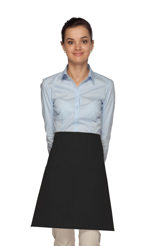 Style 111 Professional One Pocket Half Bistro Apron - Black
