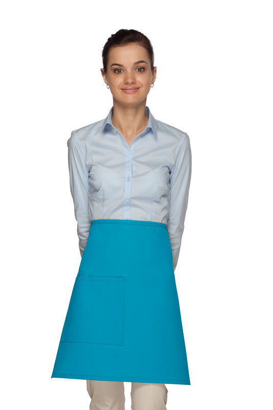 Style 111 Professional One Pocket Half Bistro Apron - Turquoise