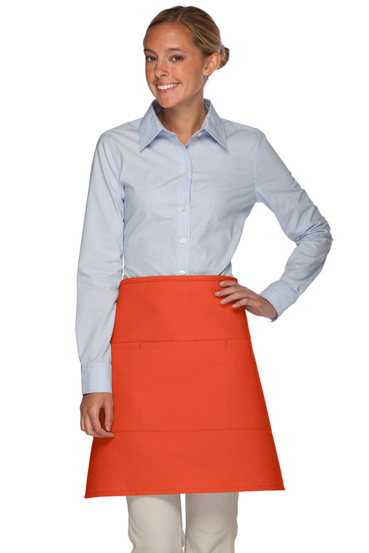 Style 113 Professional Three Pocket Half Bistro Apron - Orange