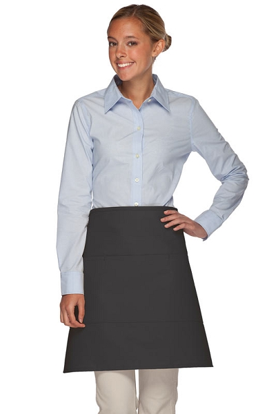 Style 113 Professional Three Pocket Half Bistro Apron - Charcoal Gray
