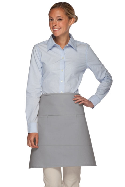Style 113 Professional Three Pocket Half Bistro Apron - Silver Gray