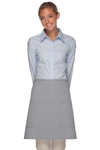 Style 115 Professional Two Patch Pocket Half Bistro Apron - Silver Gray