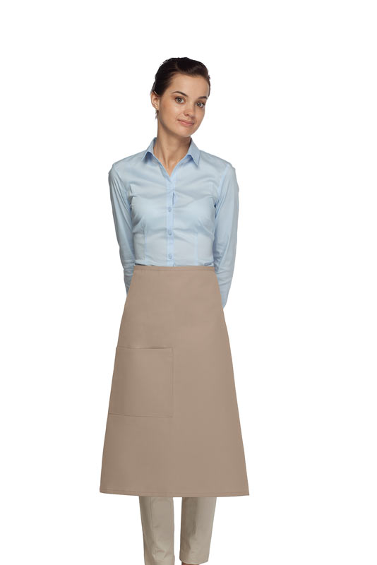 Style 118 Professional One Pocket 3/4 Bistro Apron - Khaki