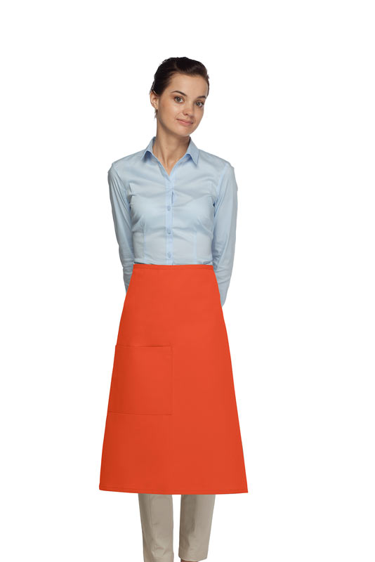 Style 118 Professional One Pocket 3/4 Bistro Apron - Orange