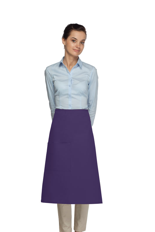Style 118 Professional One Pocket 3/4 Bistro Apron - Purple