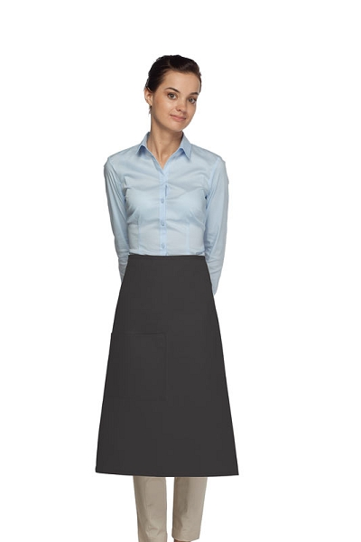 Style 118 Professional One Pocket 3/4 Bistro Apron - Charcoal Gray