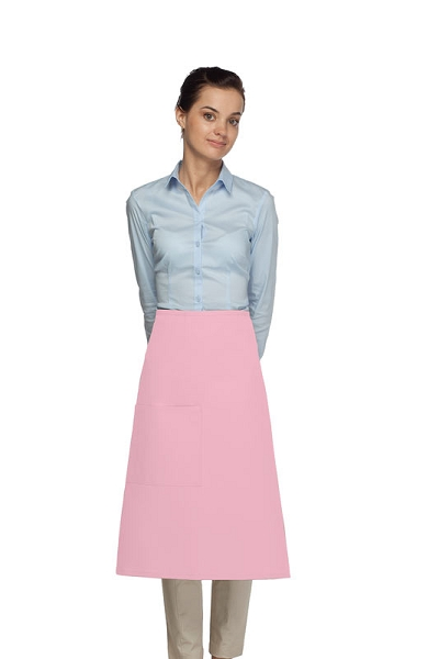 Style 118 Professional One Pocket 3/4 Bistro Apron - Pink