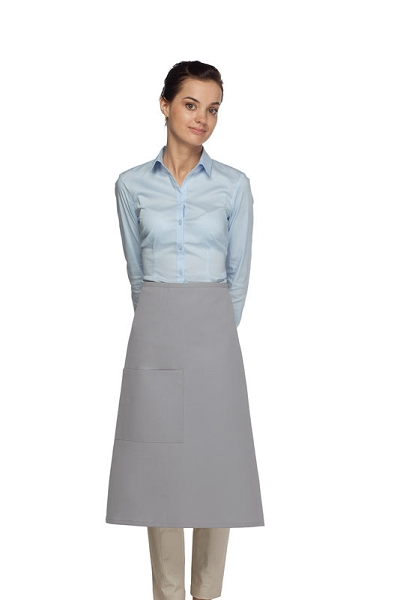 Style 118 Professional One Pocket 3/4 Bistro Apron - Silver Gray