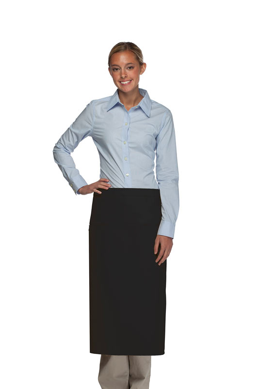 Style 120-2I Professional Double Inset Pocket Full Length Bistro Apron - Black