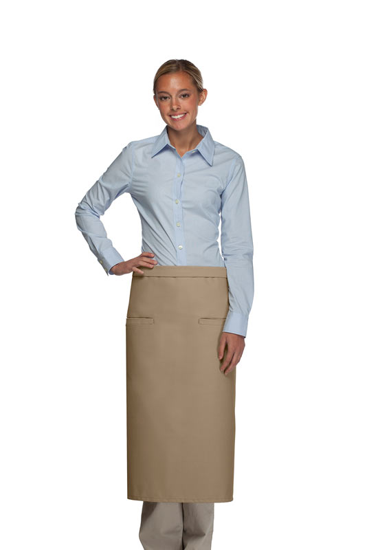 Style 120-2I Professional Double Inset Pocket Full Length Bistro Apron - Khaki