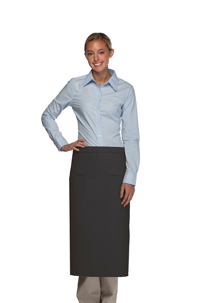 Style 120-2I Professional Double Inset Pocket Full Length Bistro Apron - Charcoal Gray